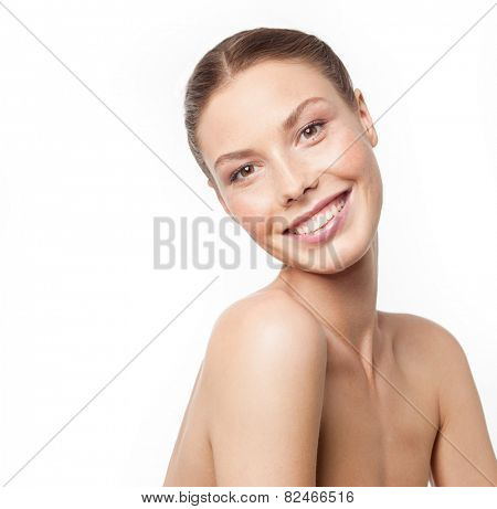 closeup portrait of attractive young  caucasian smiling woman brunette isolated on white studio shot lips toothy smile face  head and shoulders looking at camera tooth