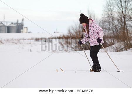 Little Girl Cross-country Skiing