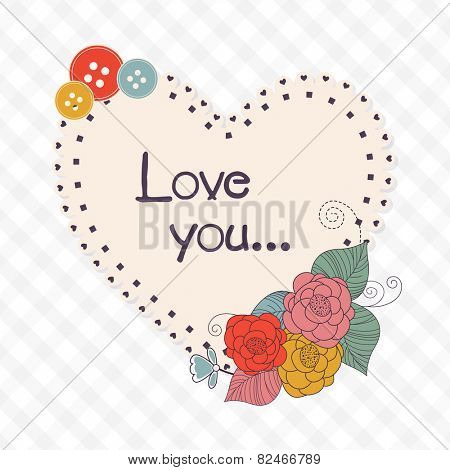 Heart shape beautiful frame with text Love You decorated by colorful flowers and buttons for Happy Valentine's Day celebration.