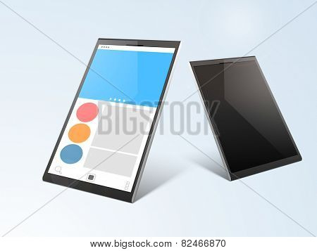 Stylish tablet pc screen presentation in two ways on gradient background.