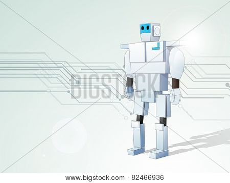 Hi-tech background with standing robot for business purpose.