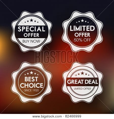 Set of four badges of special, limited , best choice and great deal offer.