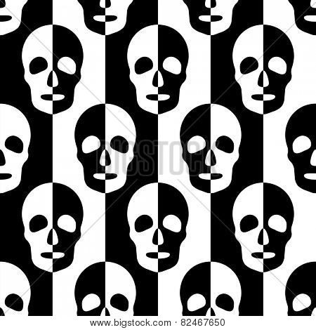Seamless Skull and Stripe Pattern. Abstract Black and White Background. Vector Regular Texture