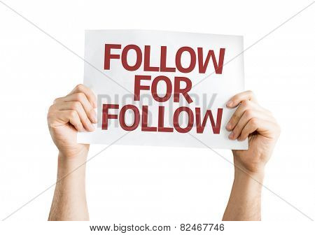 Follow for Follow card isolated on white background