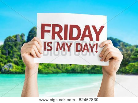 Friday Is My Day card with beach background