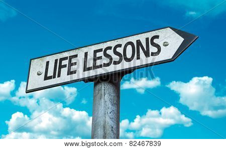 Life Lessons sign with sky background