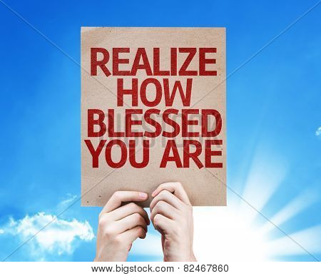 Realize How Blessed You Are card with sky background