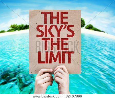 The Sky's The Limit card with a beach background