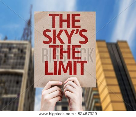 The Sky's The Limit card with urban background
