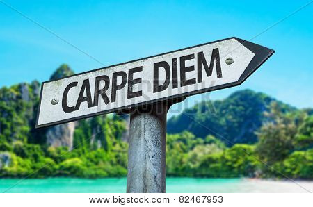 Carpe Diem sign with a beach on background