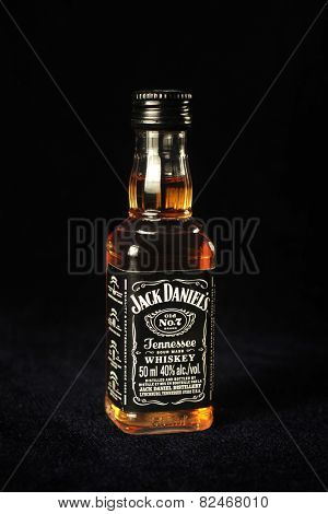MONTREAL, CANADA - FEBRUARY 01, 2015: A bottle of Jack Daniel's on a black background.  Jack Daniel's is a brand of Tennessee whiskey and the highest selling American whiskey in the world.