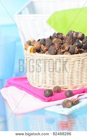Basket full of soap nuts, natural bio detergent.