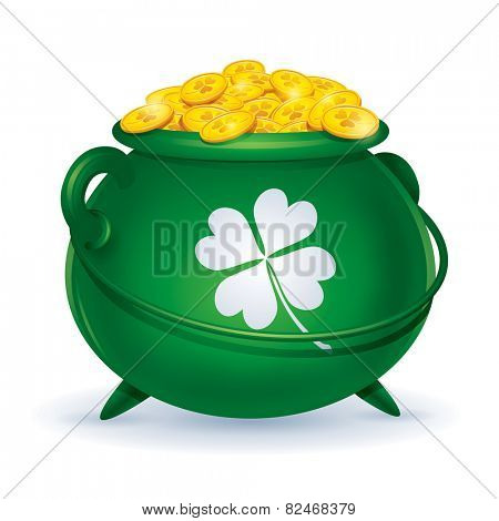 St Patricks Day symbol. Pot of gold