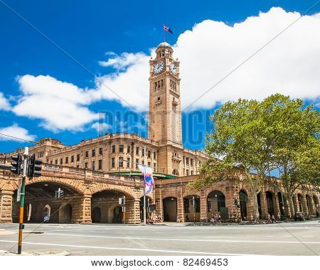 SYDNEY,AUSTRALIA-DEC 31, 2015:Sydney central railway statio clock tower on Dec 31. 2015, Australia. It is located at the southern end of the Sydney CBD and is the largest railway station in Australia.