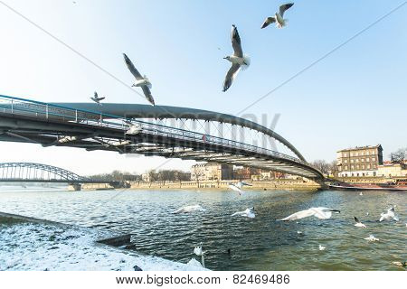 KRAKOW, POLAND - FEB 7, 2015: Footbridge Ojca Bernatka - bridge over the Vistula River, Sep 4, 2013 in Krakow, Poland. Bridge is 145 meters /700 tons, cost of its construction is more than 38 mil.