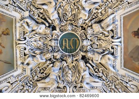 SALZBURG, AUSTRIA - DECEMBER 13: Alpha and Omega, fragment of the dome of Salzburg Cathedral on December 13, 2014. Salzburg Cathedral is renowned for its harmonious Baroque architecture.
