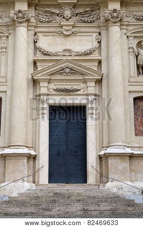 GRAZ, AUSTRIA - JANUARY 10, 2015: Portal of St. Catherines church and Mausoleum of Ferdinand II, Graz, Austria on January 10, 2015.