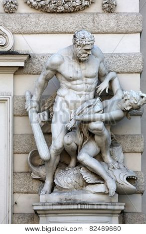 VIENNA, AUSTRIA - OCTOBER 10: Hercules statue at the Royal Palace Hofburg in Vienna, Austria on October 10, 2014.