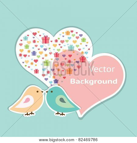 Pink and blue birdies are represented with the two heart on the blue background. Flat image of vector