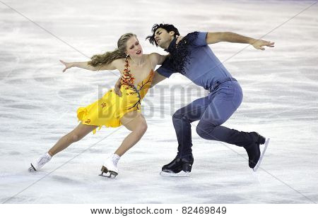 BARCELONA - DEC, 13: Kaitlyn Weaver and Andrew Poje of Canada during Pairs Ice Dance event of ISU Grand Prix of Figure Skating Final 2014 at CCIB on December 13, 2014 in Barcelona, Spain