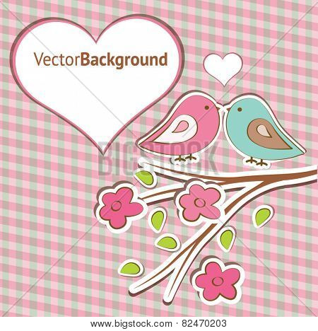 Pink and blue birdies are represented on the striped background with the contour of heart. Flat image of vector