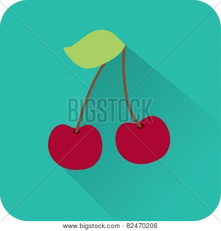 cherries on a blue background. Vector icon.