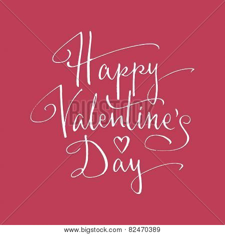Happy Valentine's Day handlettering. Vector illustration