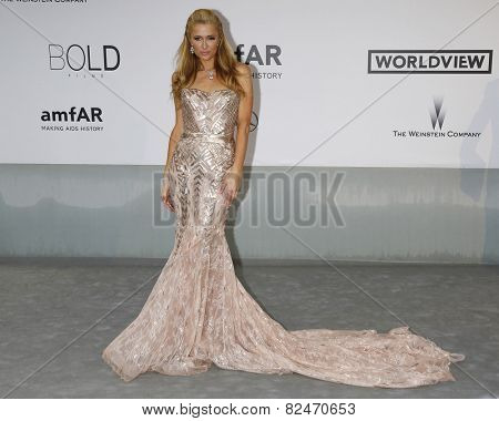 CAP D'ANTIBES - MAY 22: Paris Hilton at the amfAR's 21st Cinema Against AIDS Gala at Hotel du Cap-Eden-Roc on May 22, 2014 in Cap d'Antibes, France