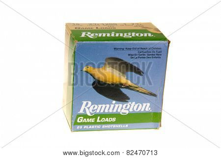 Hayward, CA - February 3, 2015: Box of Remington Game Loads - 16 Gauge shotshells in 7.5 shot -illustrative editorial