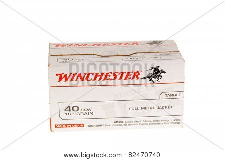 Hayward, CA - February 3, 2015: Box of Winchester 40 S&W 165 grain full metal jacket catridges - illustrative editorial