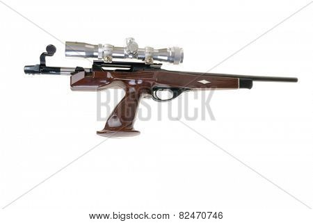Hayward, CA - February 3, 2015: Remington Model XP100 in .223 caliber with a Tasco scope on it. -Illustrative editorial