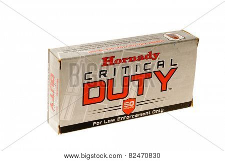 Hayward, CA - February 3, 2015: box of 50 Hornady Critical Duty cartridges with flexlock bullets for law enforcement only