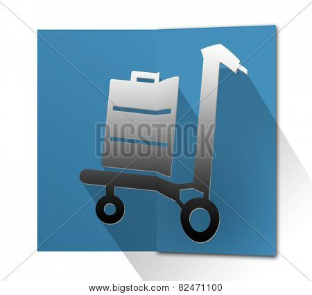 Folded card with trolley suitcase