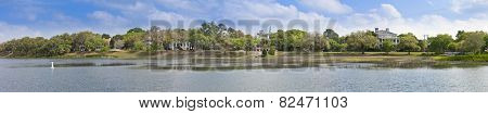 180 degree panorama of waterfront of Beaufort, South Carolina