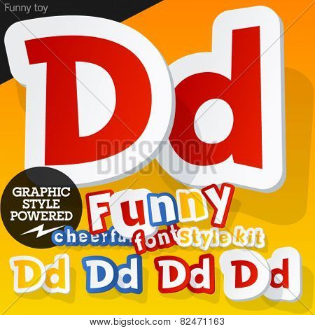Vector font in shape of funny toys or cartoon elements. Letter D