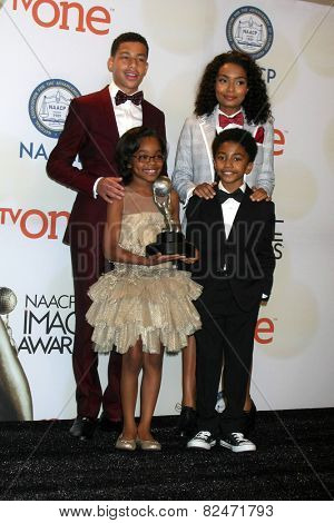 LOS ANGELES - FEB 6:  Yara Shahidi, Marcus Scribner, Marsai Martin, Miles Brown at the 46th NAACP Image Awards Press Room at a Pasadena Convention Center on February 6, 2015 in Pasadena, CA