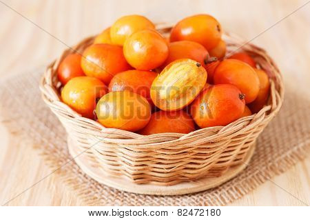 Fruit Jocote ( Sineguela,  Siriguela, Red Mombin, Mombin, Hog Plum, Ciruela Huesito) In Whicker Bask