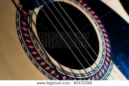 Acoustic Guitar Sound Hole Close Up