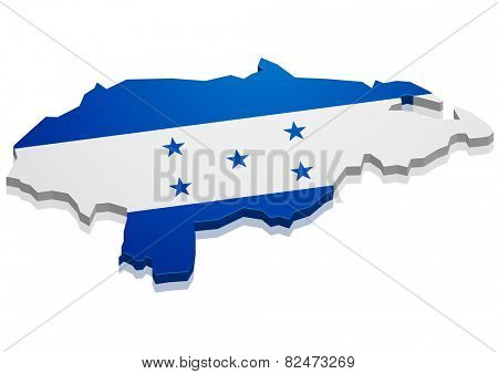 detailed illustration of a map of Honduras with flag, eps10 vector