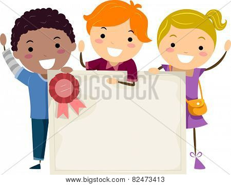Illustration of Kids Holding a Group Certificate
