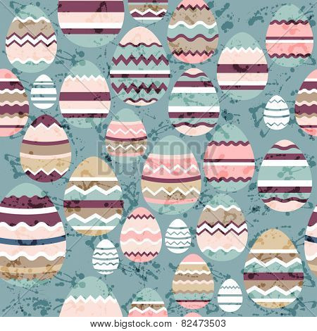 Seamless blue pattern with easter eggs