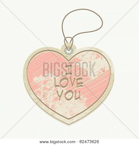 I love you cardboard heart-shaped hanging tag, vector illustration