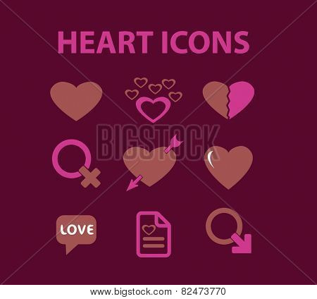 heart, love, relations, valentines day flat icons, signs, illustrations design concept vector set