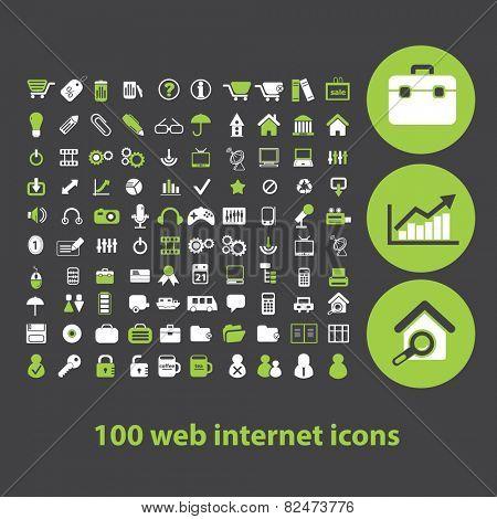100 web internet icons, signs, illustrations set, vector