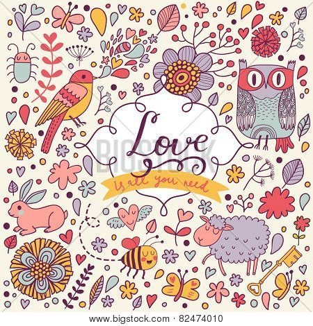 Stylish romantic card made of flowers, funny bees, butterflies, rabbit, bugs, sheep, clouds, stars and cartoon owl in bright colors in vector. Awesome forest concept background for romantic design
