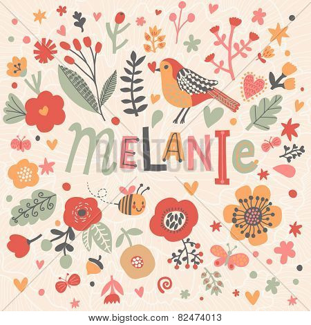 Bright card with beautiful name Melanie in poppy flowers, bees and butterflies. Awesome female name design in bright colors. Tremendous vector background for fabulous designs