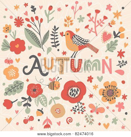 Bright card with beautiful name Autumn in poppy flowers, bees and butterflies. Awesome female name design in bright colors. Tremendous vector background for fabulous designs