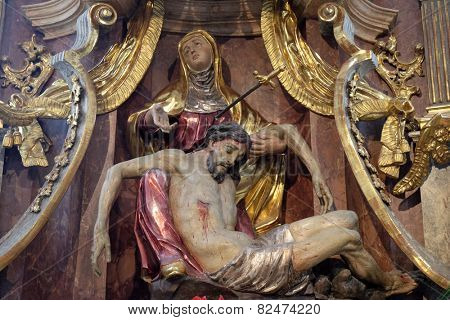 GRAZ, AUSTRIA - JANUARY 10, 2015: Altar of Our Lady of Sorrows, Franciscan Church in Graz, Styria, Austria on January 10, 2015.