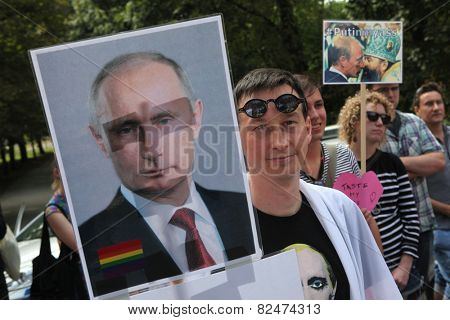 PRAGUE, CZECH REPUBLIC - SEPTEMBER 8, 2013: Czech homosexual activists protest against the Russian anti gay laws in front of the Russian Embassy in Prague, Czech Republic.
