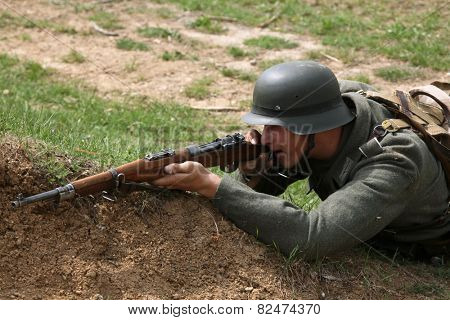 ORECHOV, CZECH REPUBLIC - APRIL 27, 2013: Re-enactor dressed as a German Nazi soldier attends the re-enactment of the Battle at Orechov (1945) near Brno, Czech Republic.